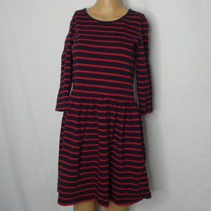 Ganni Striped 3/4 Sleeve Skater A Line Dress Red S